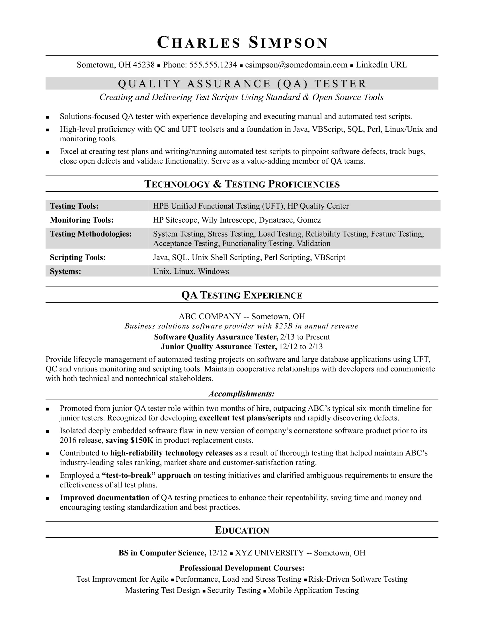 sample resume for a midlevel qa software tester - Sample Qa Resume