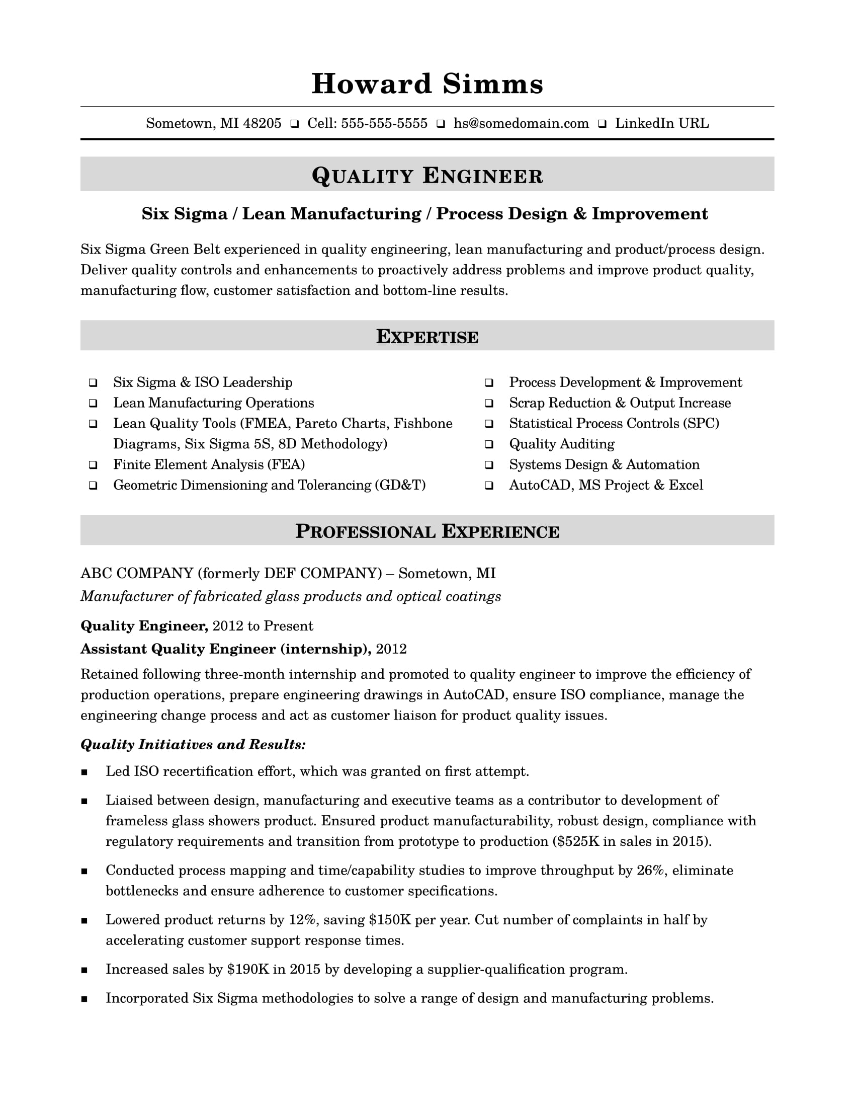 Sample Resume for a Midlevel Quality Engineer | Monster.com