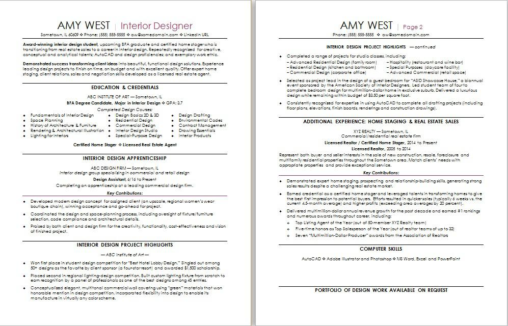 sample resume for a real estate to interior design career change - Interior Designer Resume Sample