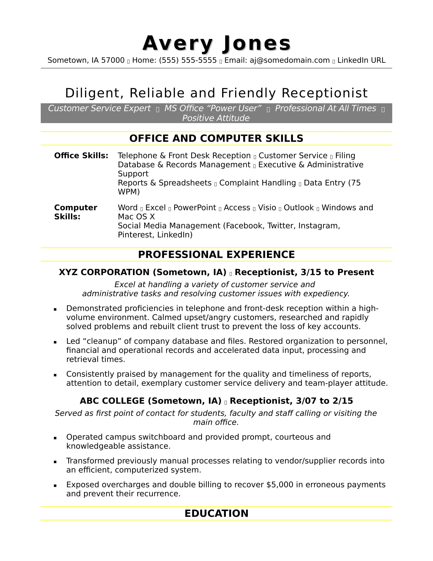 Elegant Sample Resume For A Receptionist Pertaining To Receptionist Resumes