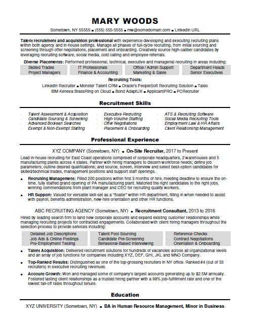 Recruiter Resume Sample Monster Com