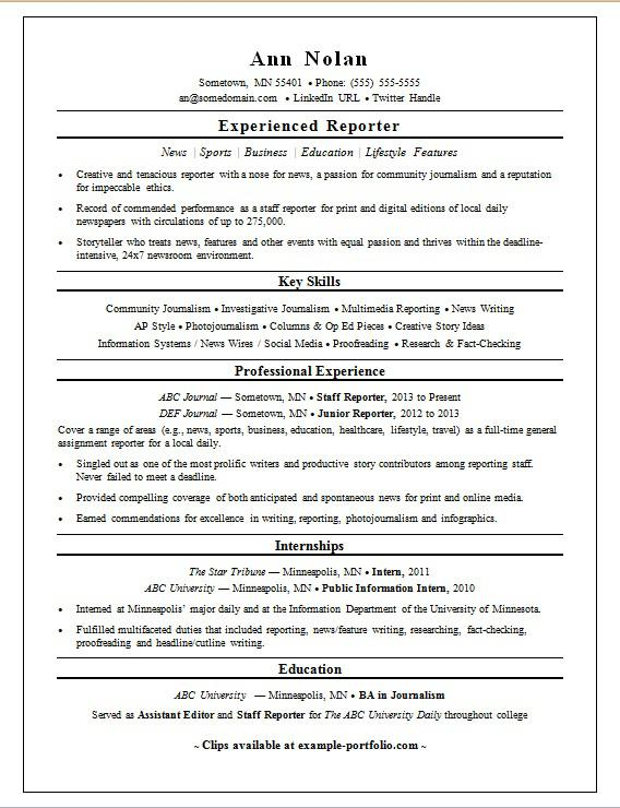 Sample Resume For A Reporter  Broadcast Journalism Resume