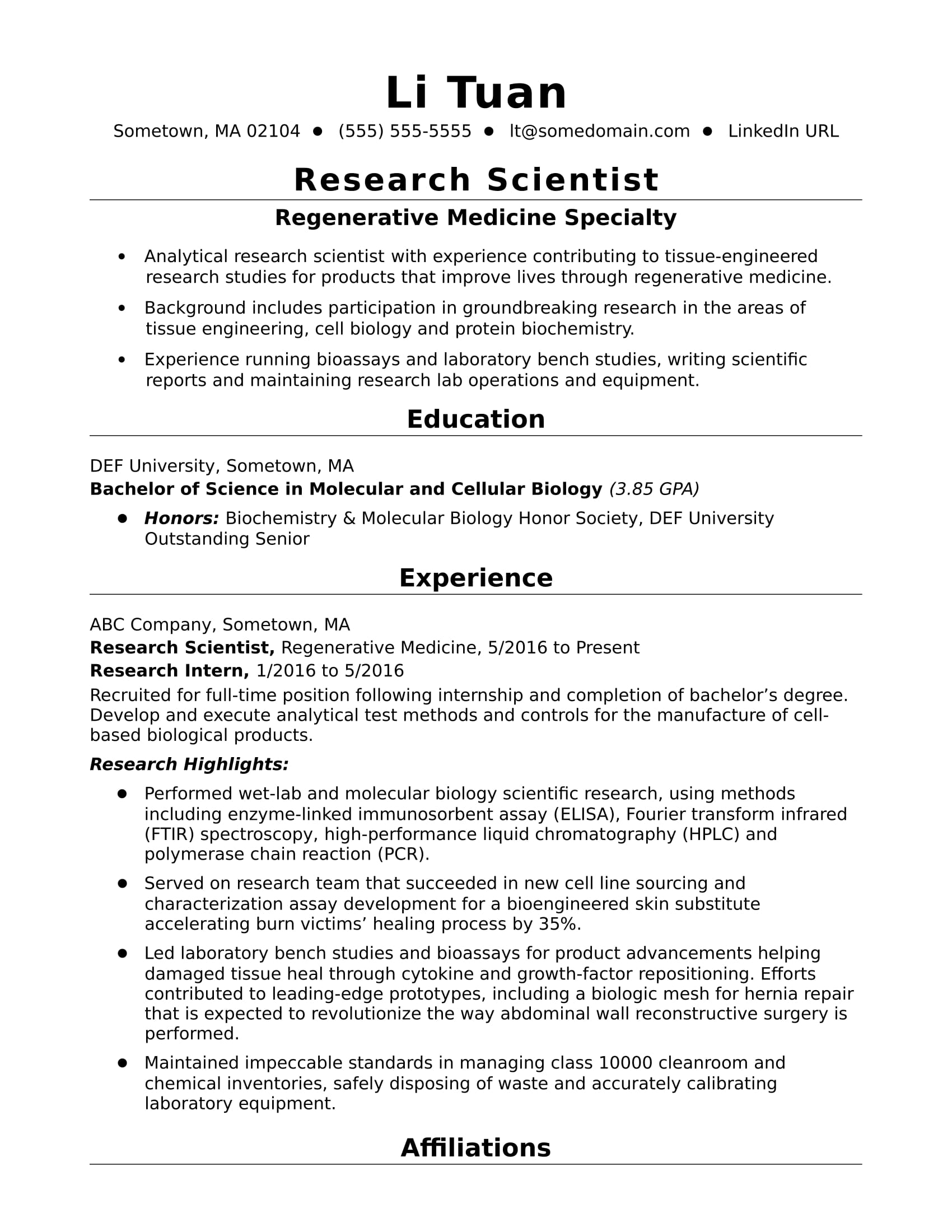 Sample resume for an entry-level research scientist