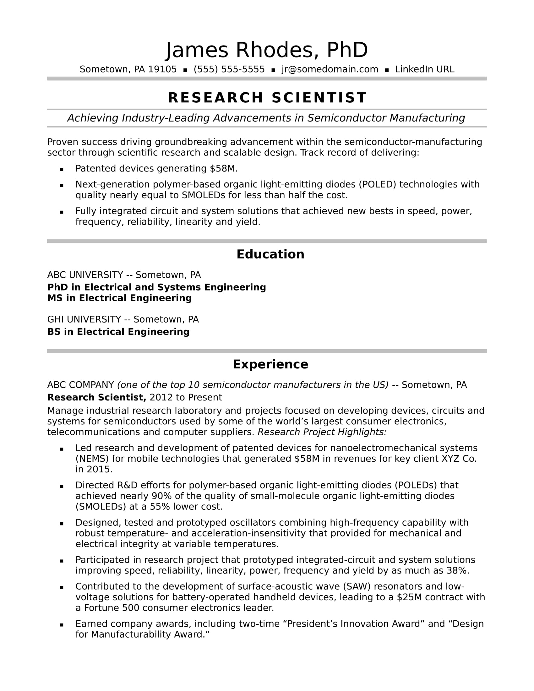 sample resume for a research scientist - Sample Resume With Research Experience