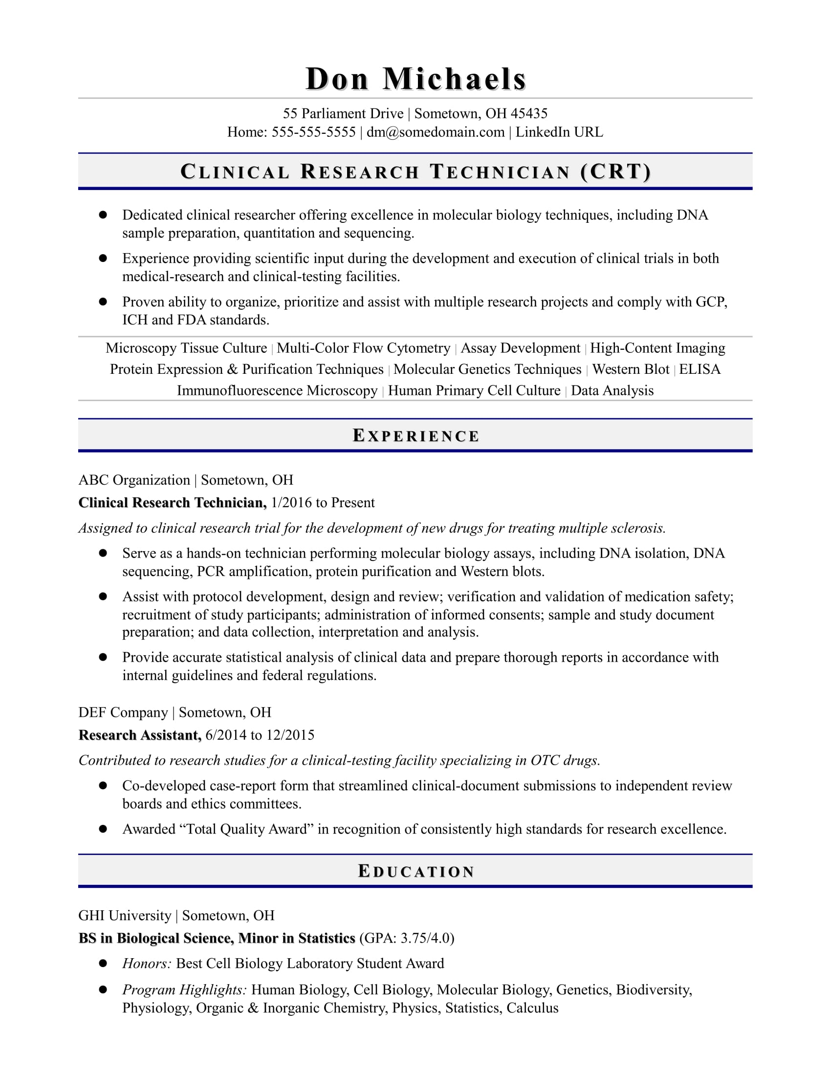 Sample resume for an entry-level research technician
