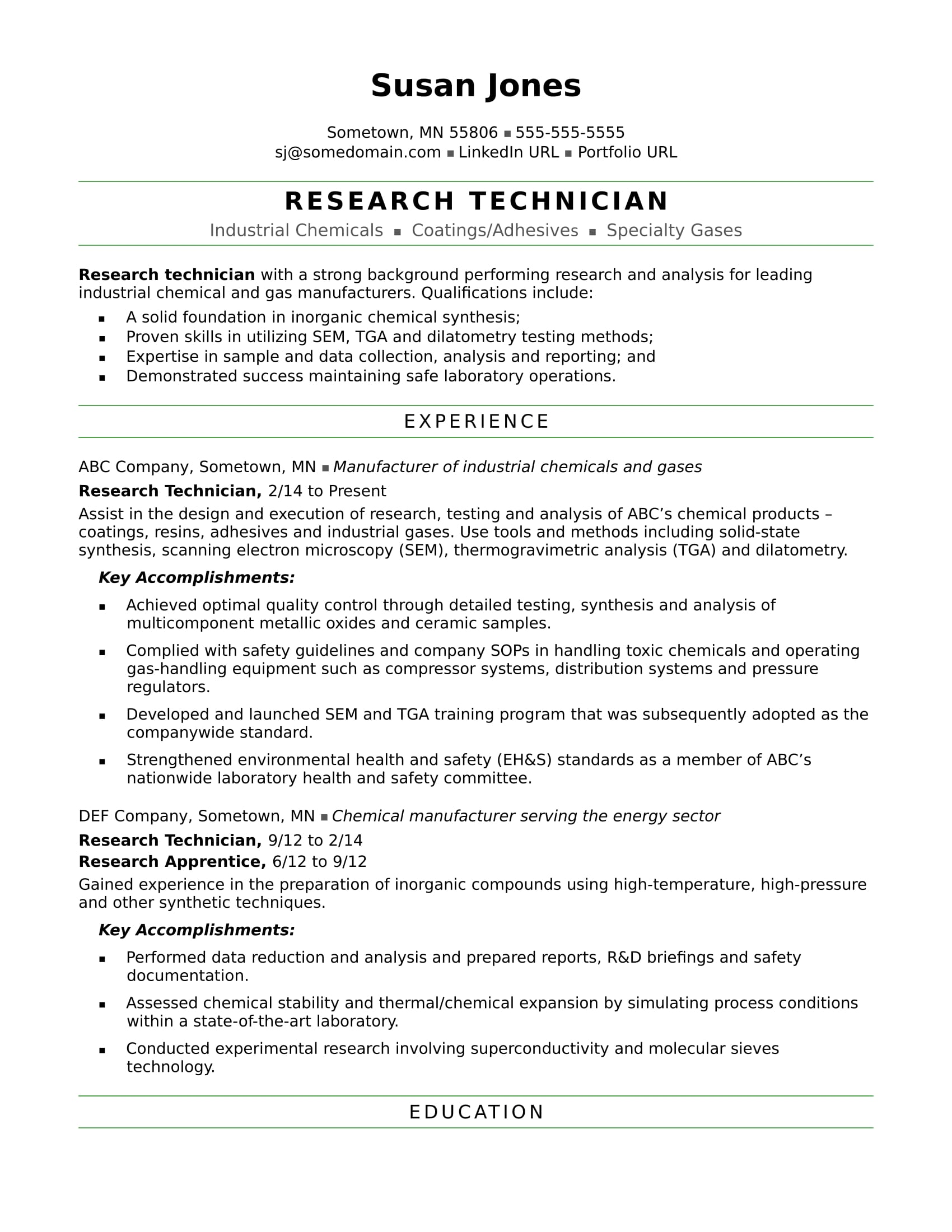 sample resume for a research technician - Chemical Technician Resume