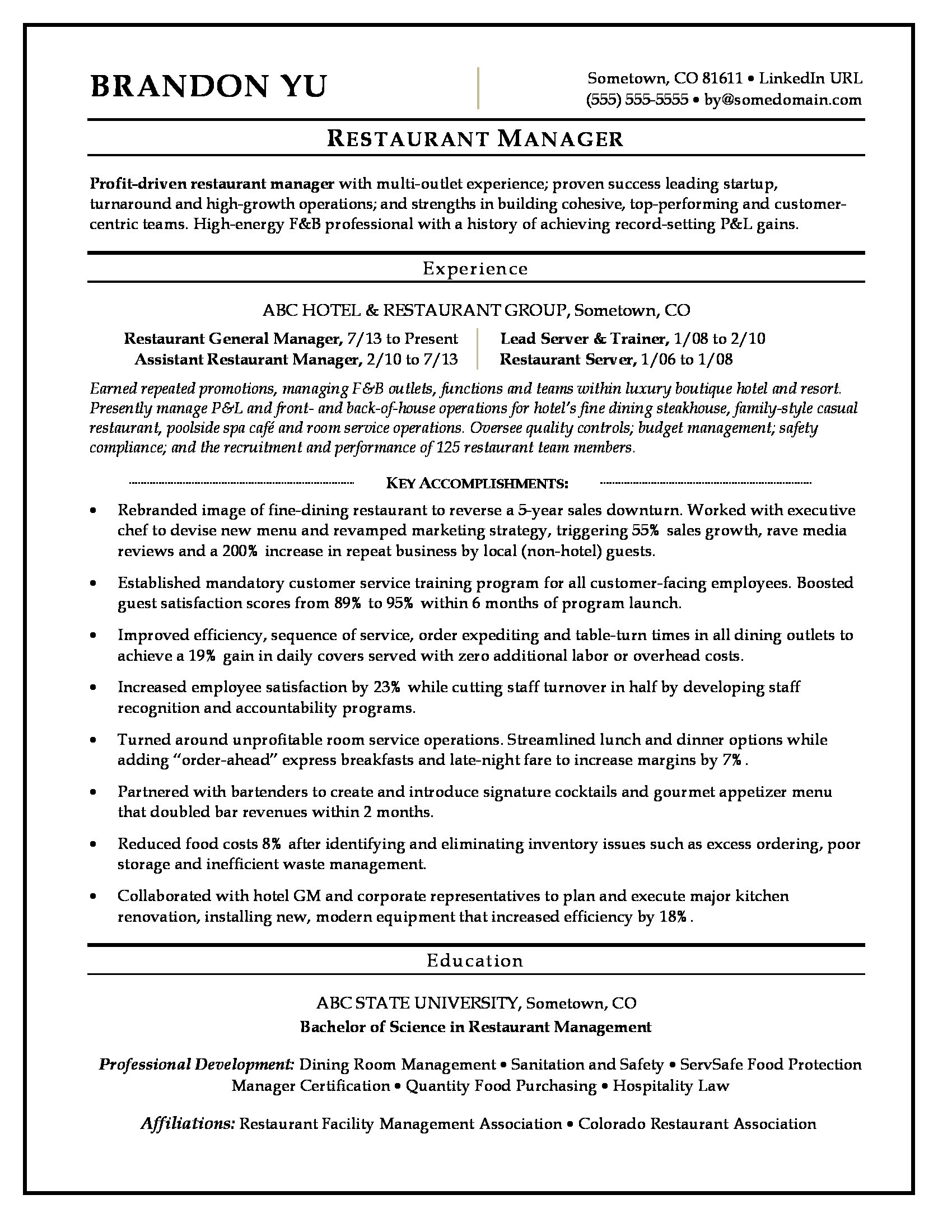 Sample Resume For A Restaurant Manager  Hospitality Resume