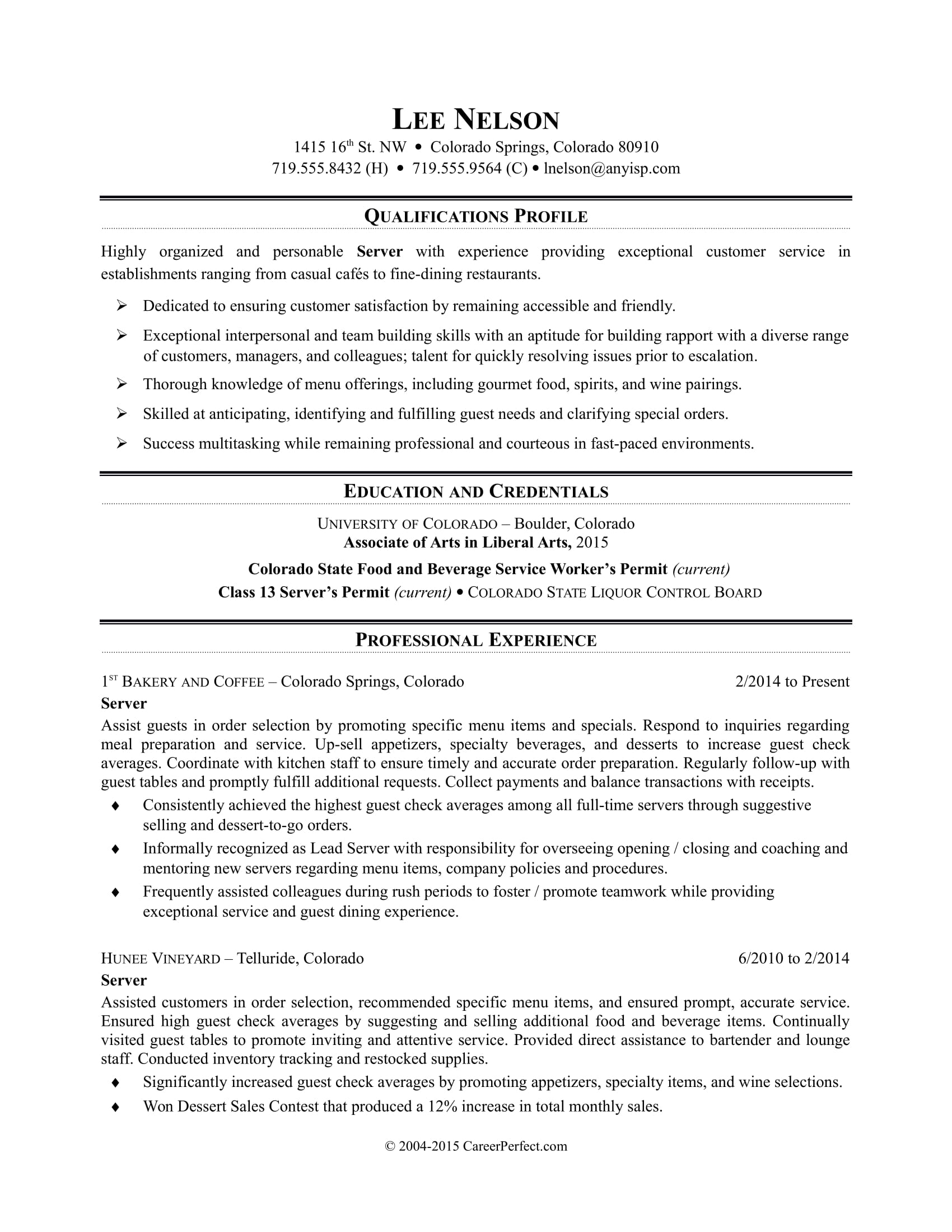 High Quality Sample Resume For A Restaurant Server  Resumes For Servers