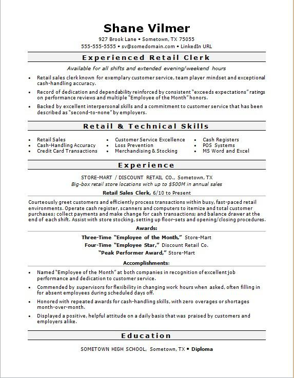 Attractive Sample Resume For A Retail Sales Clerk Regarding Retail Sample Resume