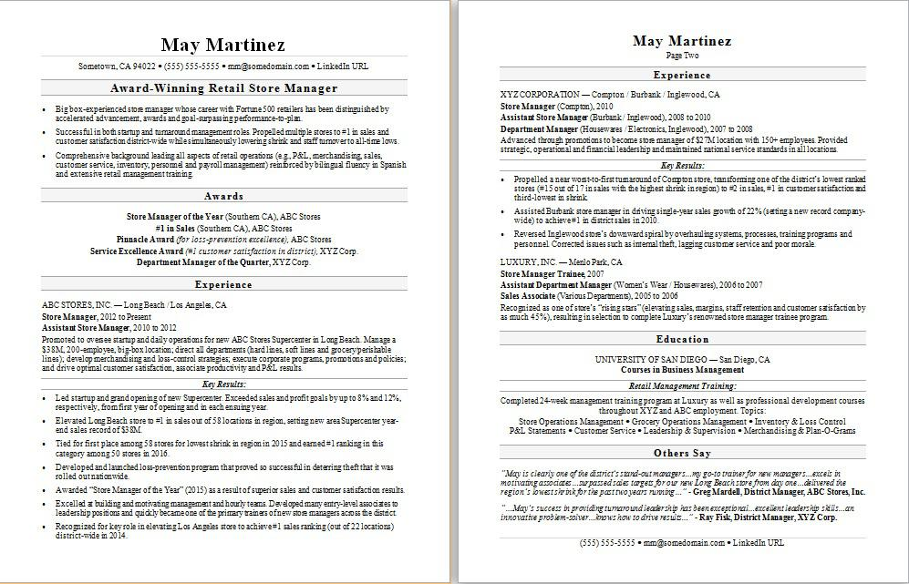 Sample resume for a retail manager