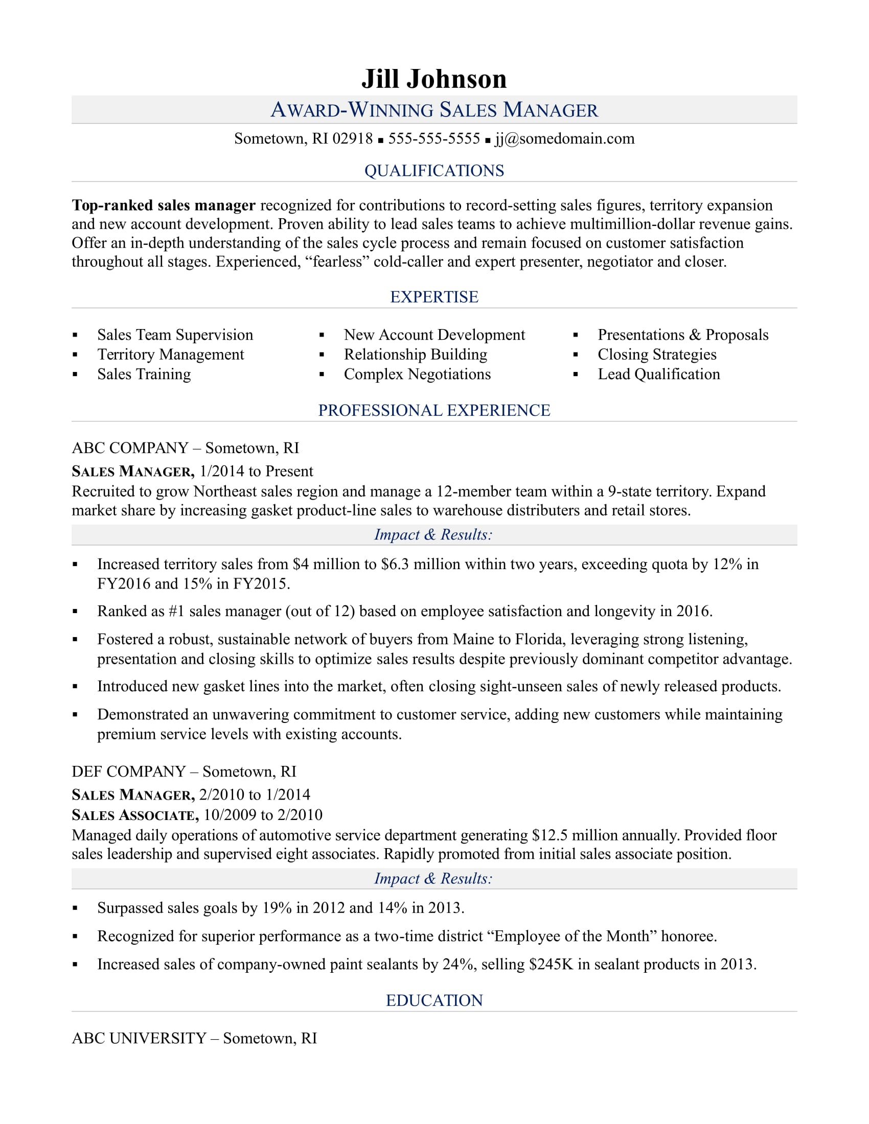 Sample resume for a sales manager
