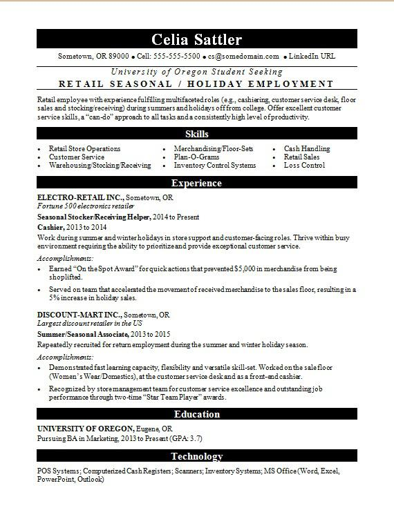 Seasonal Retail Resume Sample Monster Com