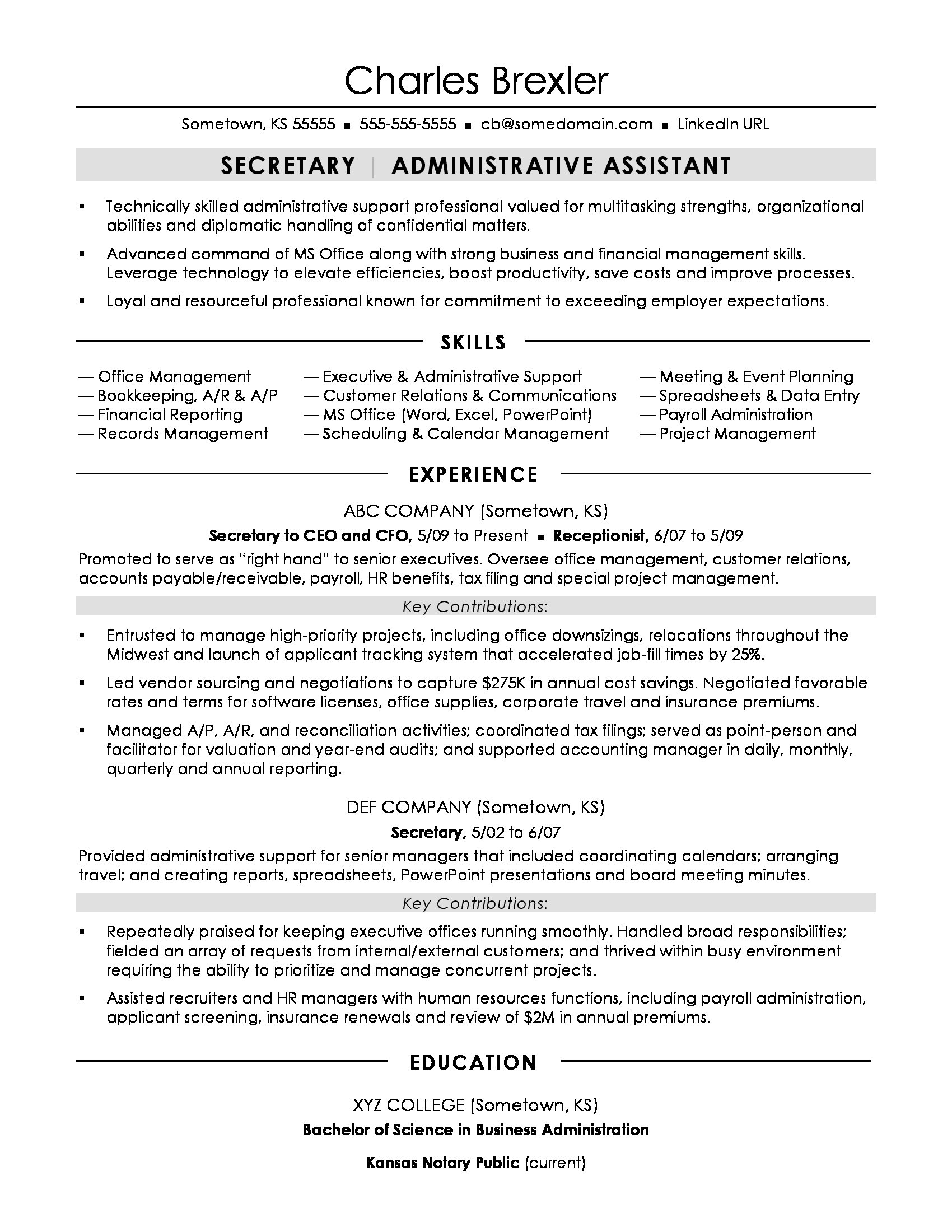 secretary resume sample - Administrative Resume Samples