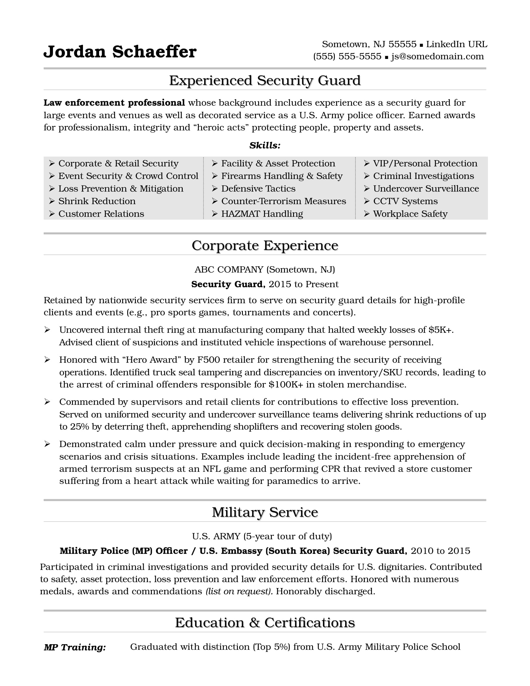 Security Guard Resume Sample  Army Resume