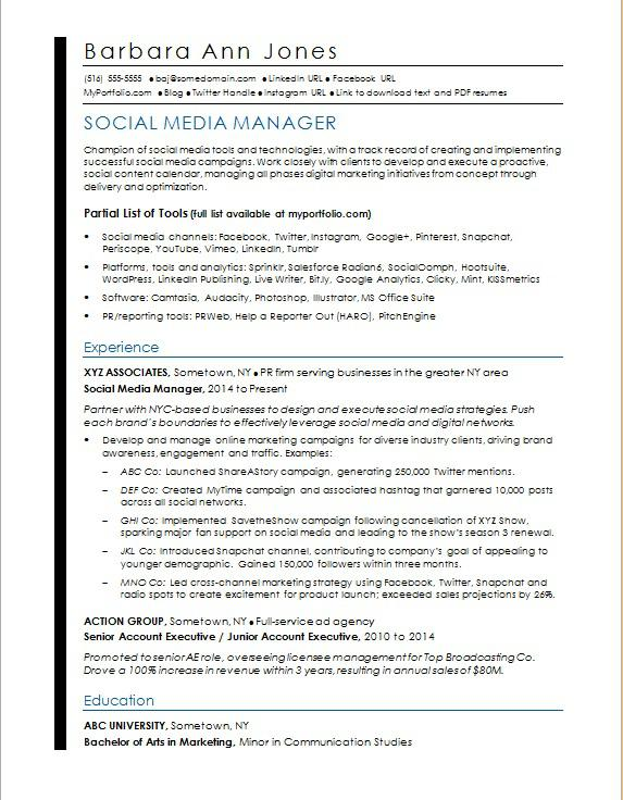 Social Media Resume Sample  MonsterCom