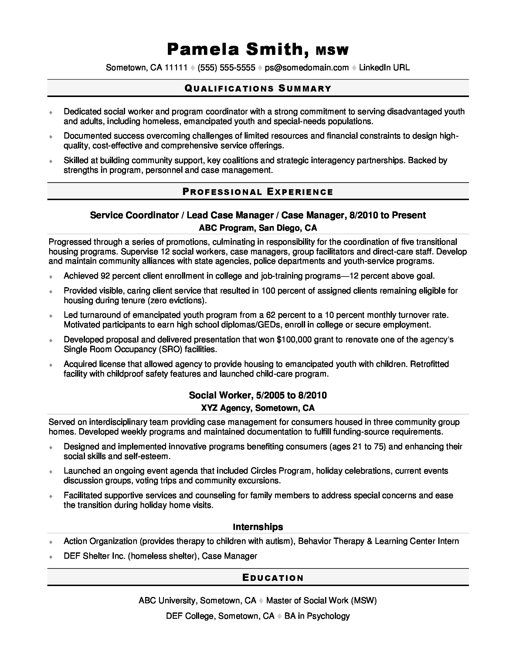 Social Worker Resume Sample  MonsterCom