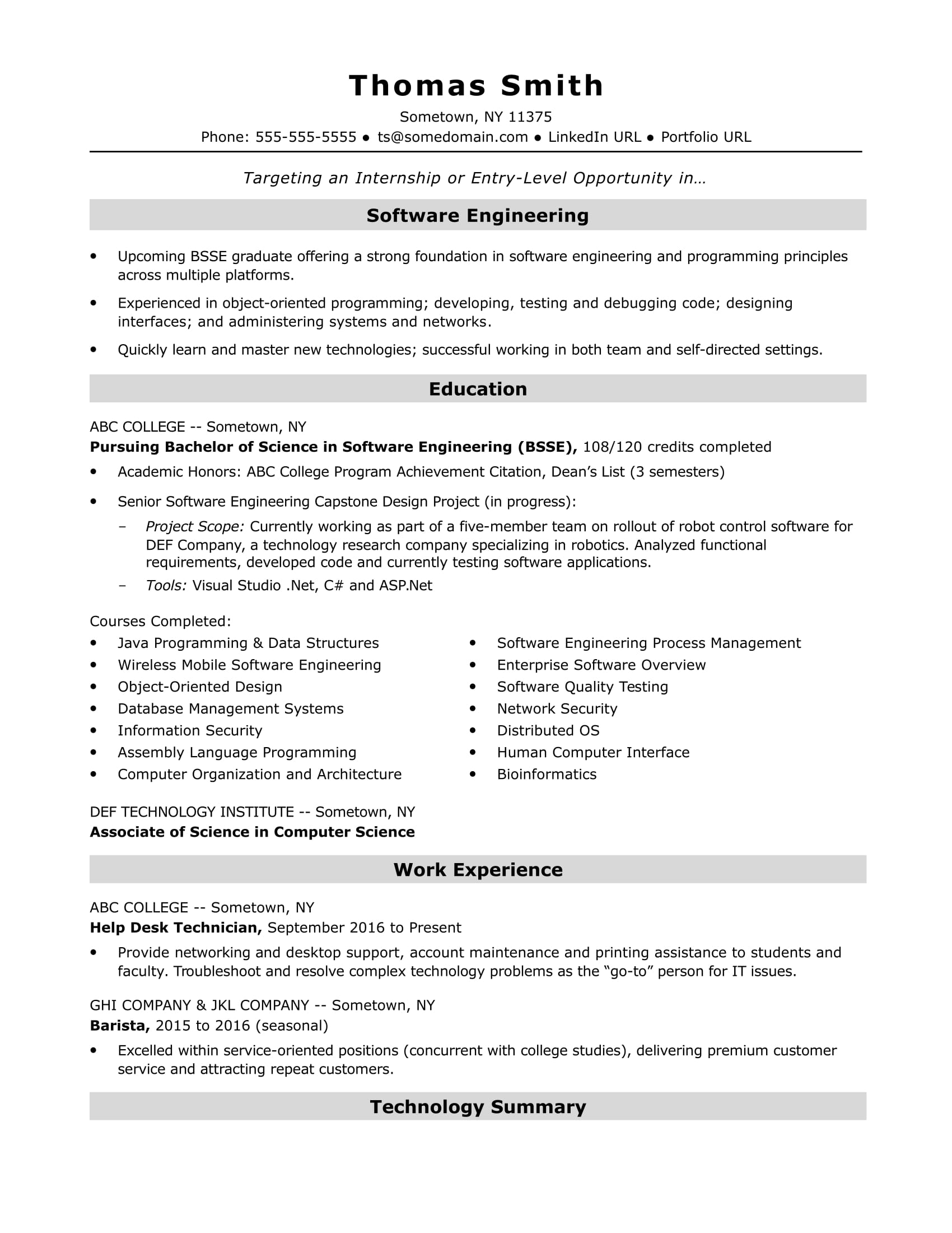 sample resume for an entry level software engineer - Resume Computer Science 2015