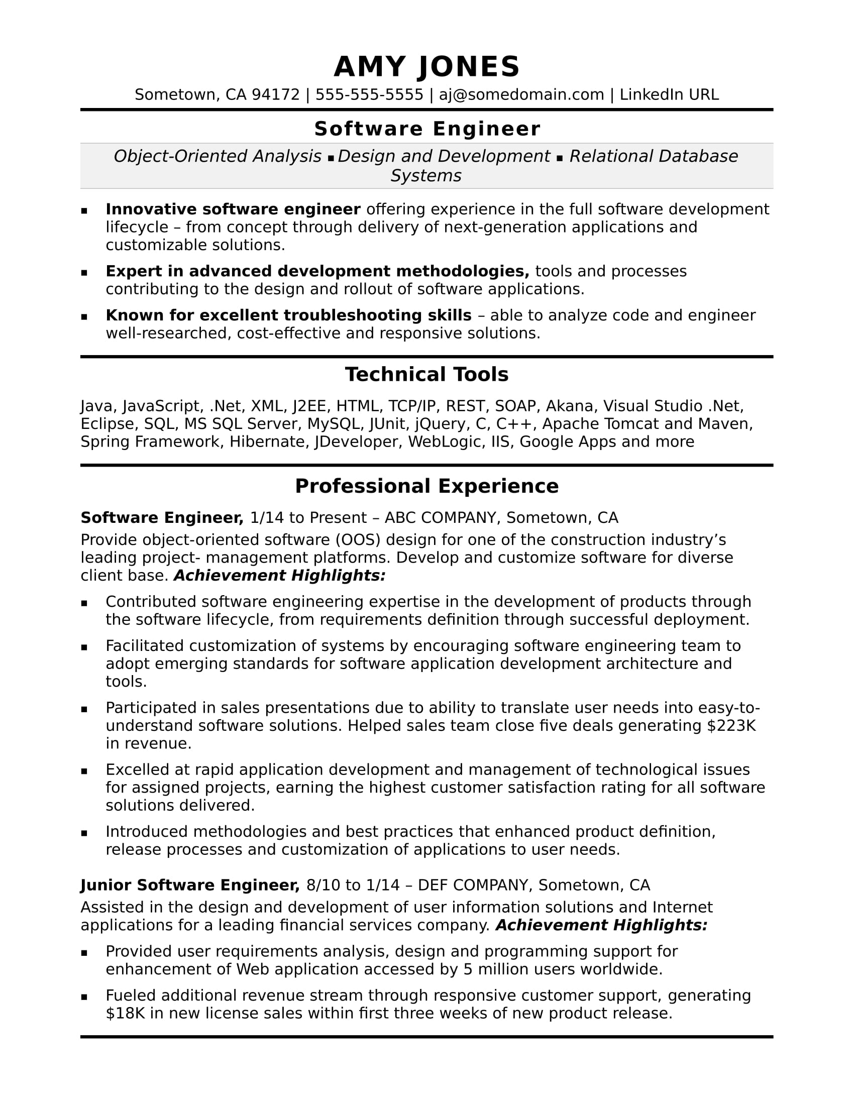 Midlevel Software Engineer Sample Resume Monster Com
