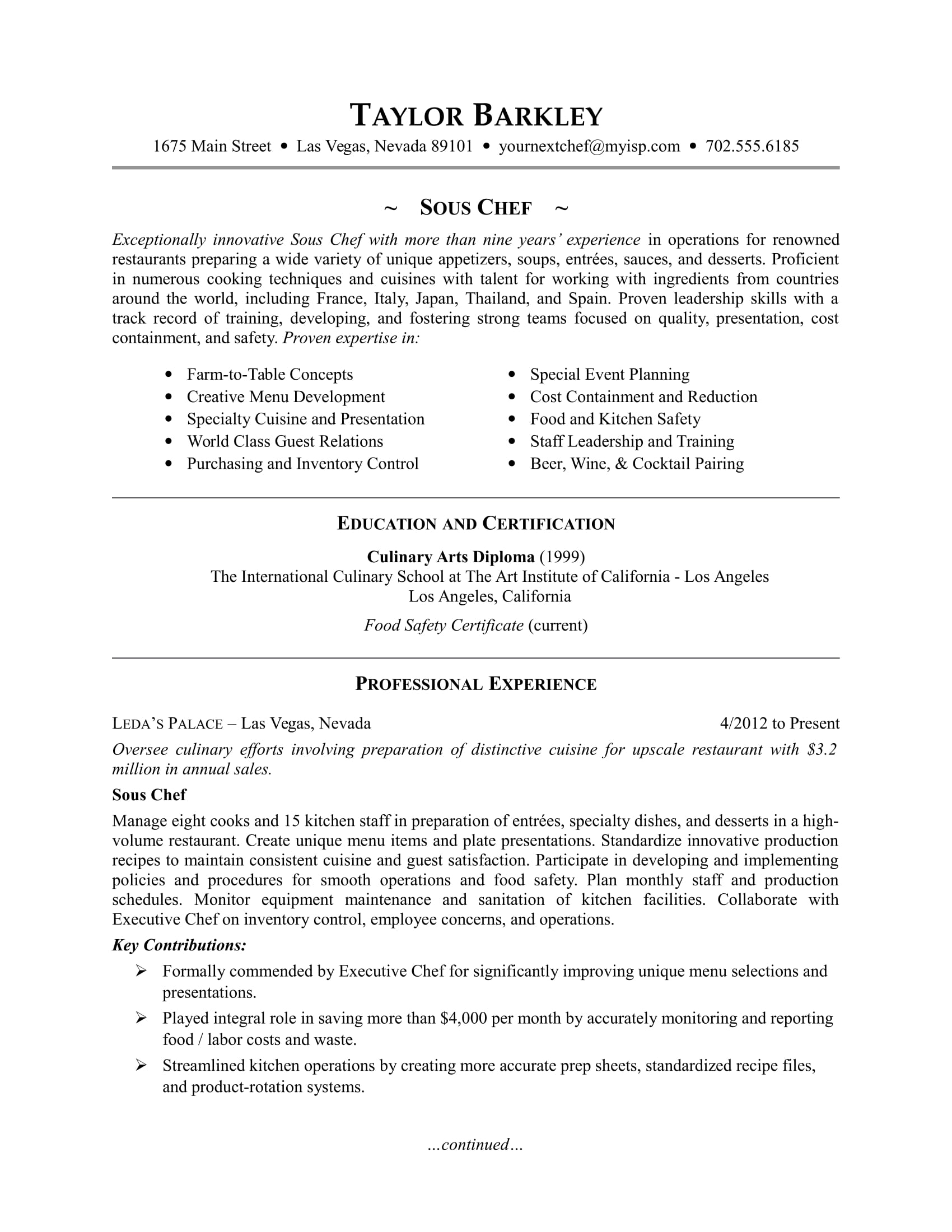 sample resume for a sous chef