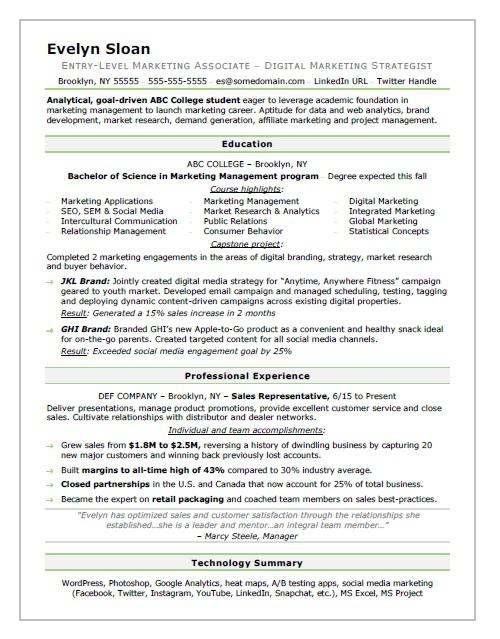 Student Resume Sample Monster Com