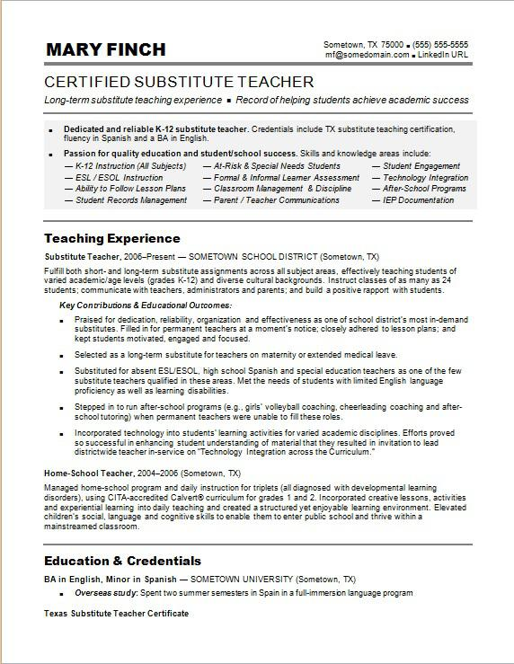 Sample Resume For A Substitute Teacher  Educational Resume Examples