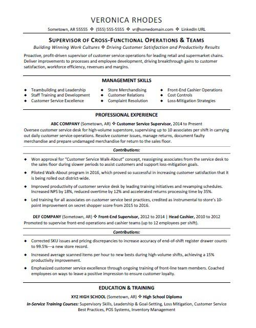 Resume Templates For Customer Service | Supervisor Resume Sample Monster Com