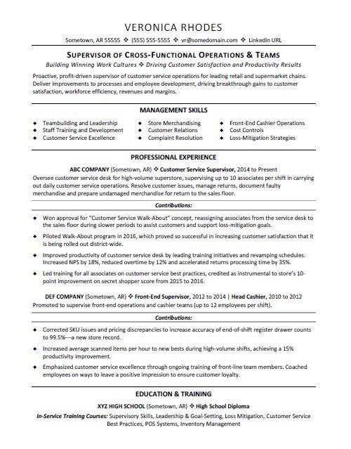 Curriculum Vitae For Supervisor Position