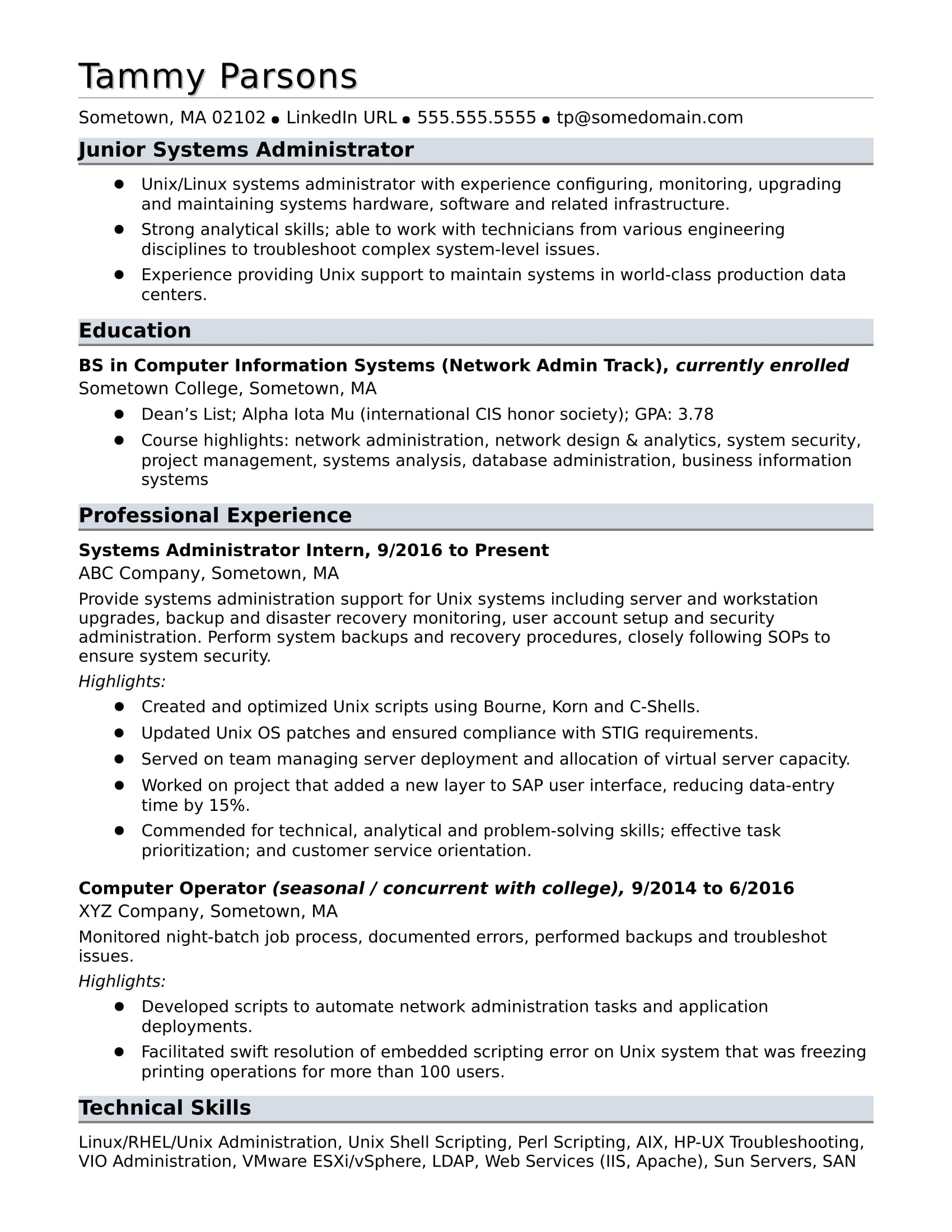 sample resume for an entry level systems administrator - Administration Sample Resume