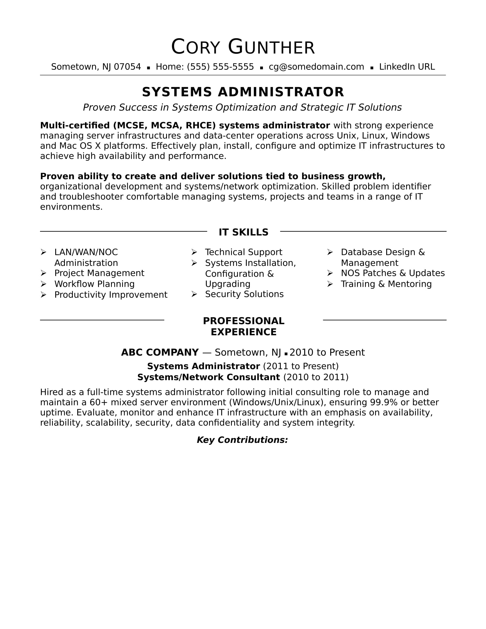 sample resume for an experienced systems administrator