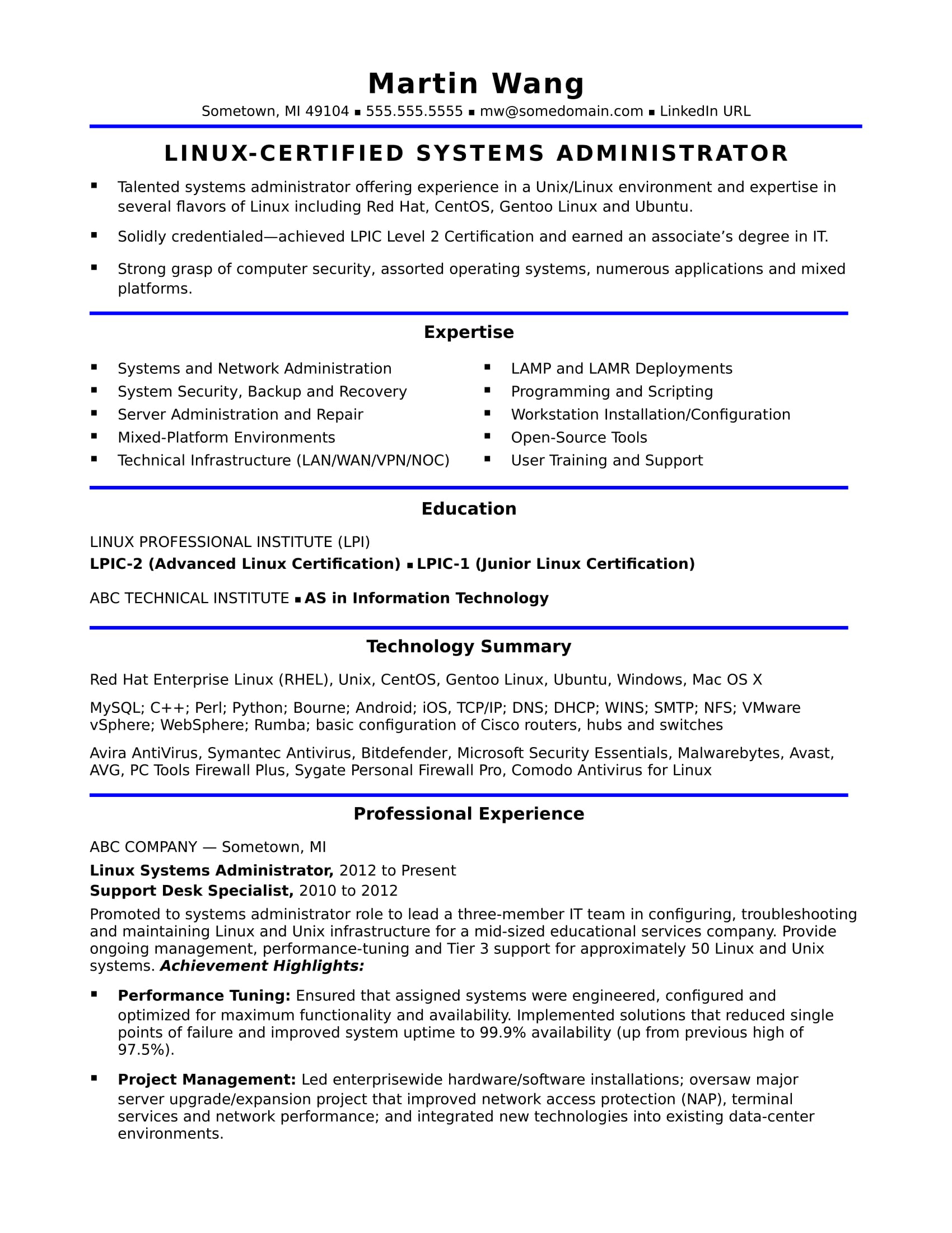 sample resume for a midlevel systems administrator - Linux Admin Resume
