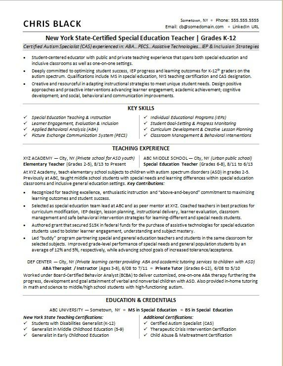 Sample resume for a teacher