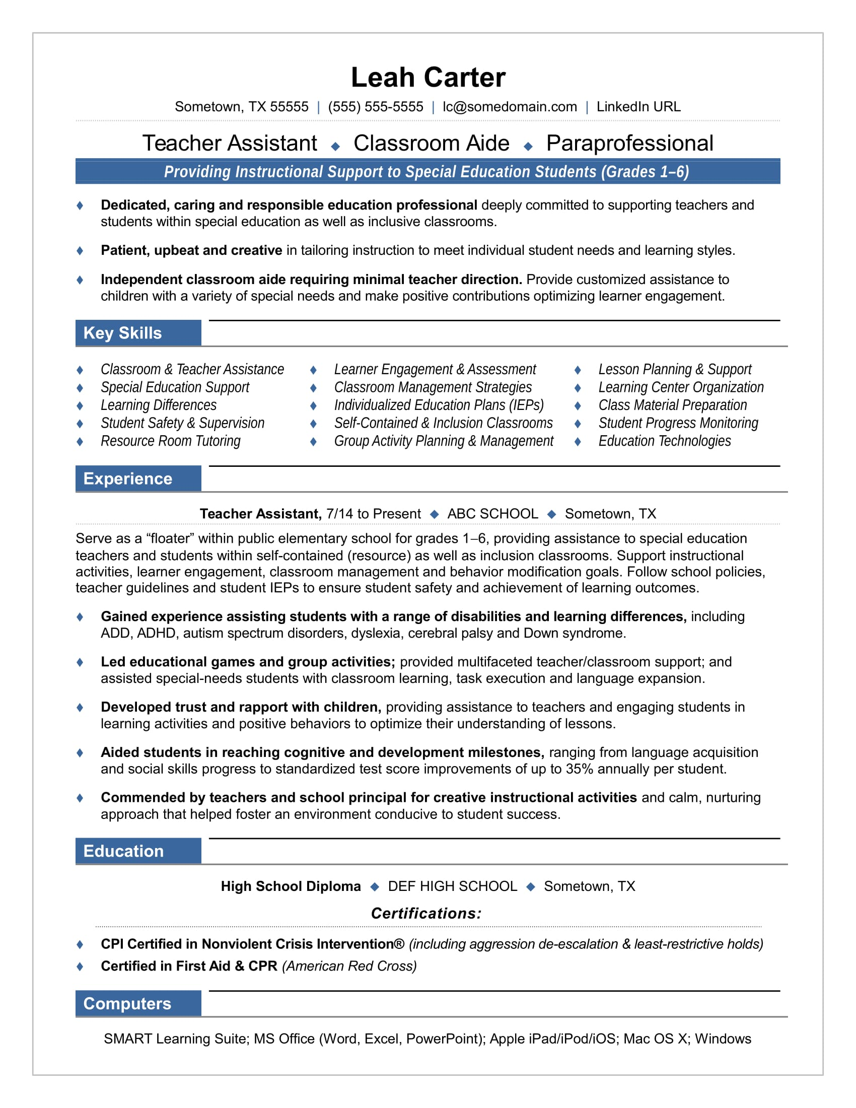 Teacher Assistant Resume Sample  Resume Template Education