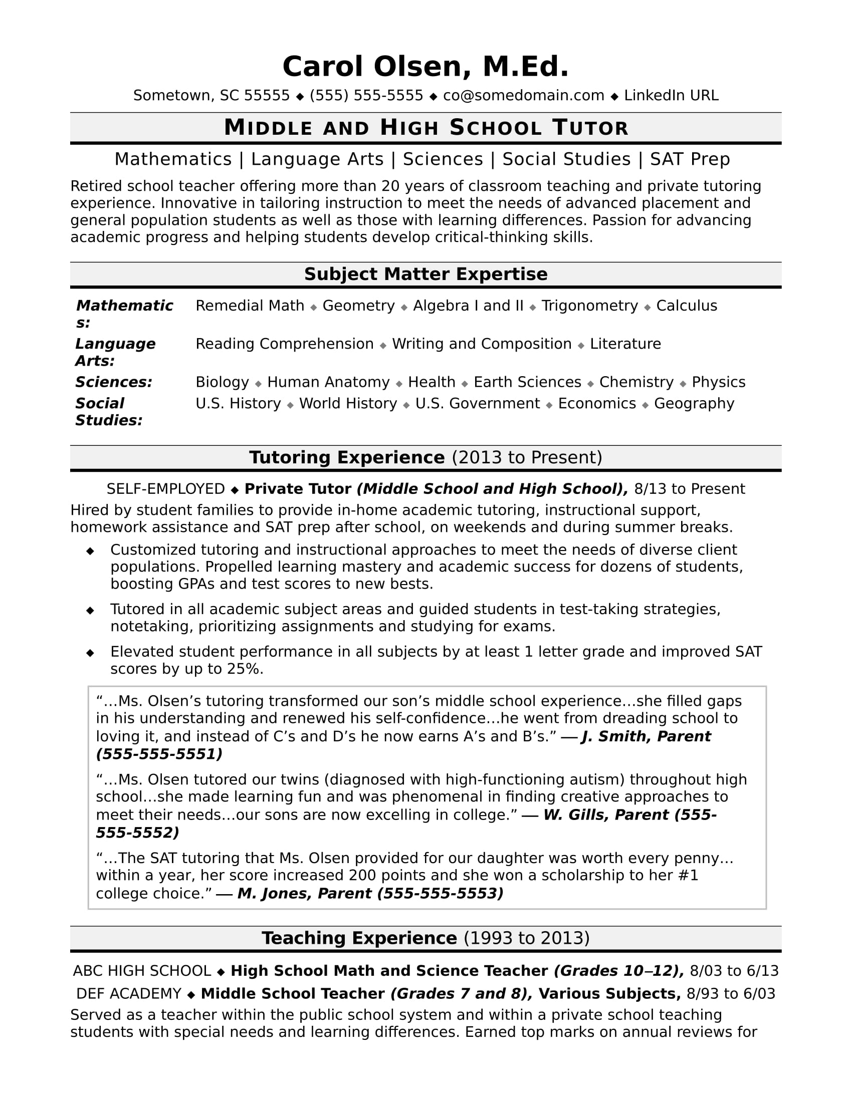 tutor resume sample - Sample Tutor Resume Template
