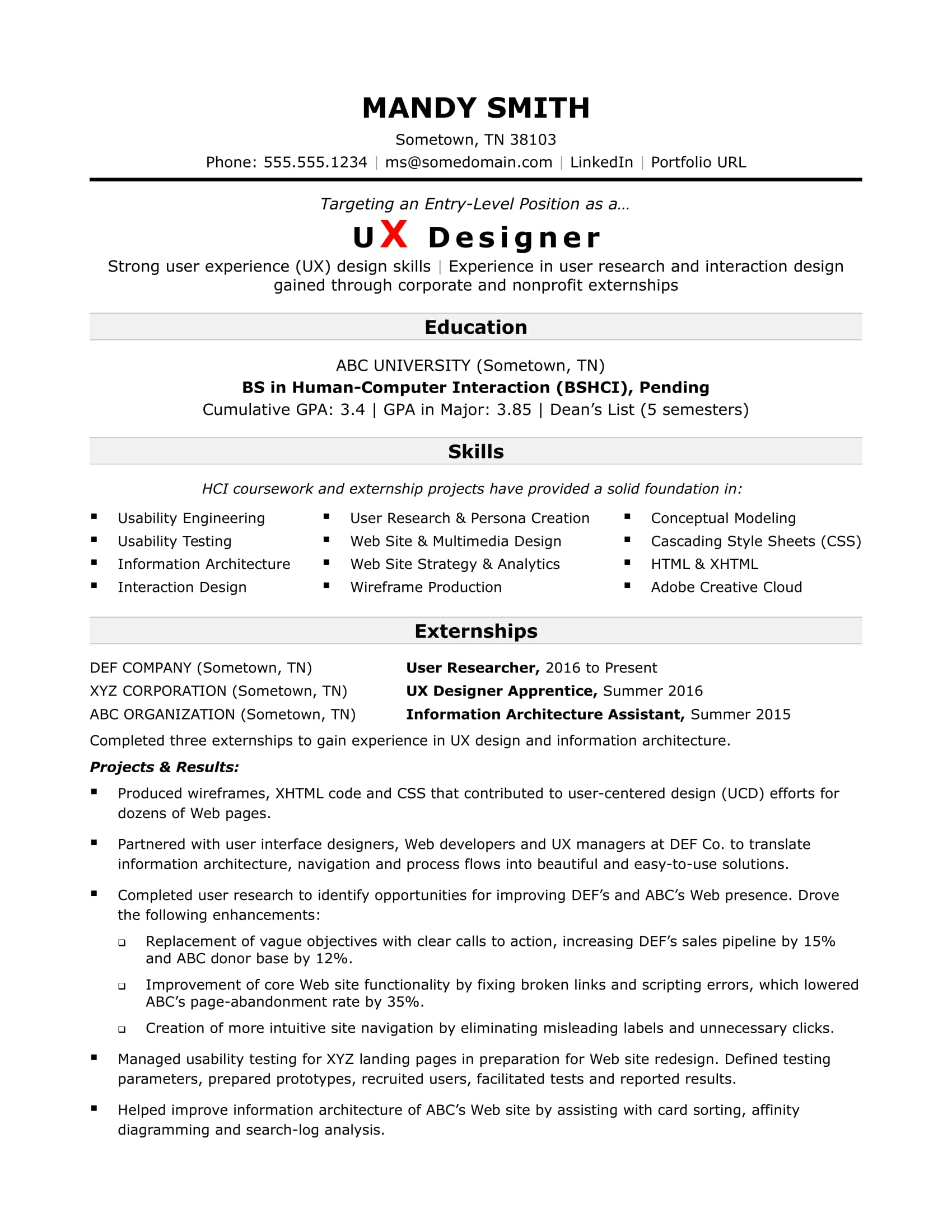 Sample Resume for an Entry-Level UX Designer | Monster com