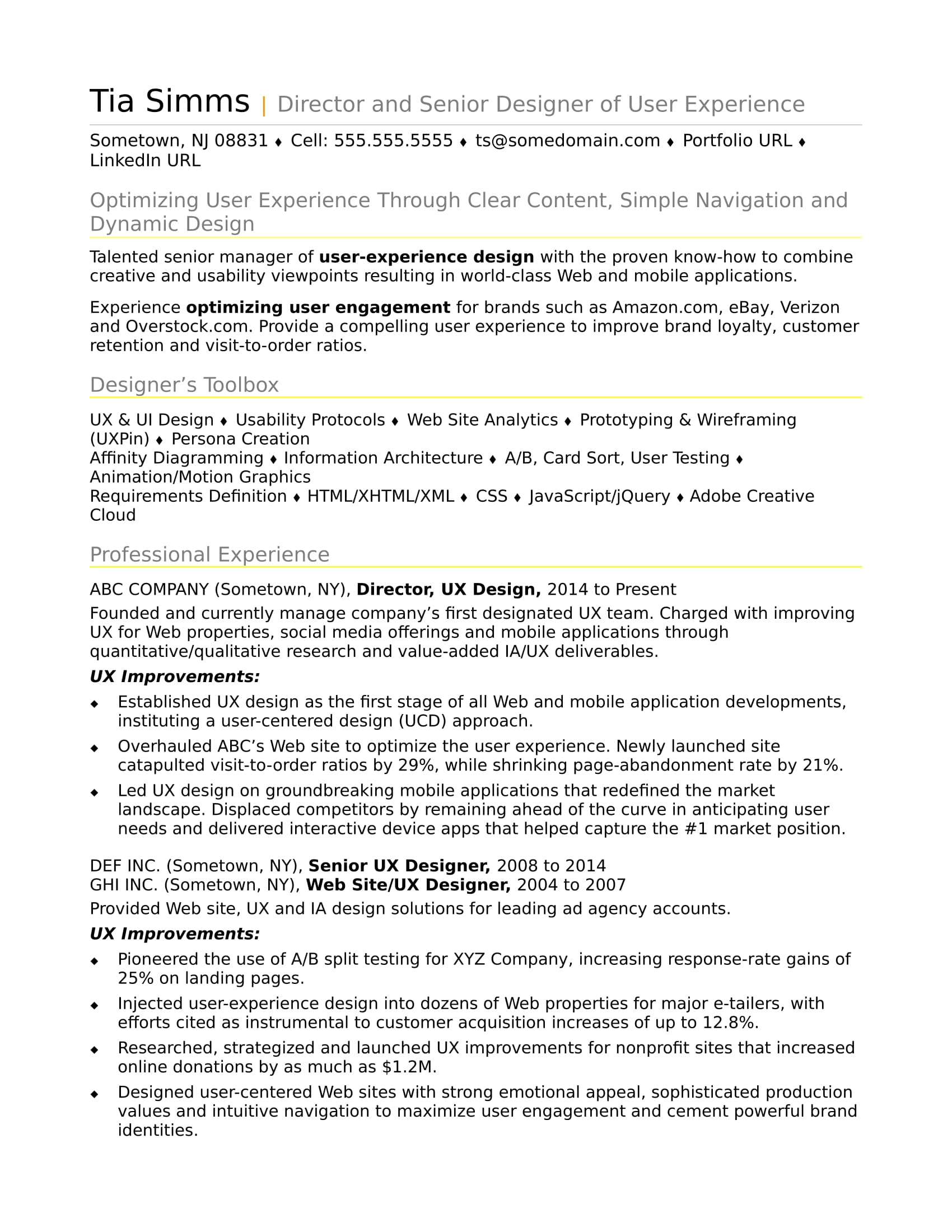 Captivating Sample Resume For An Experienced UX Designer Inside User Experience Designer Resume