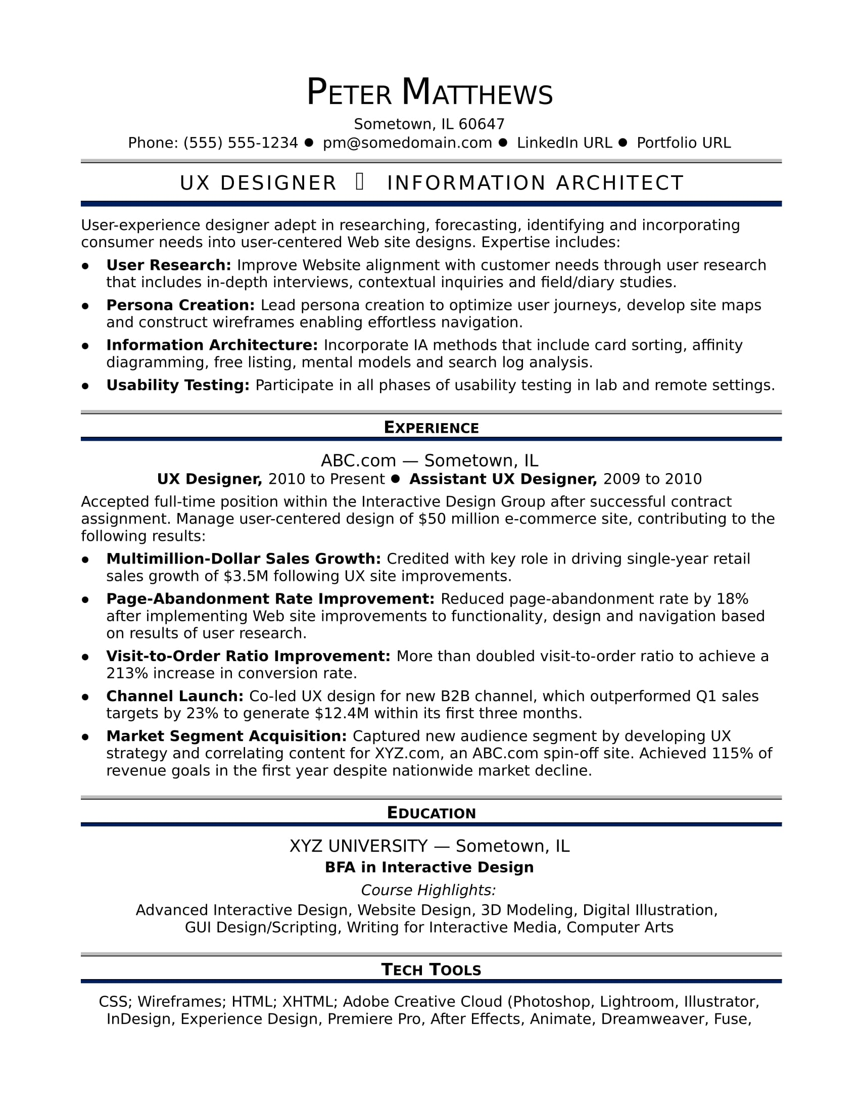 Sample Resume For A Midlevel UX Designer  User Experience Designer Resume