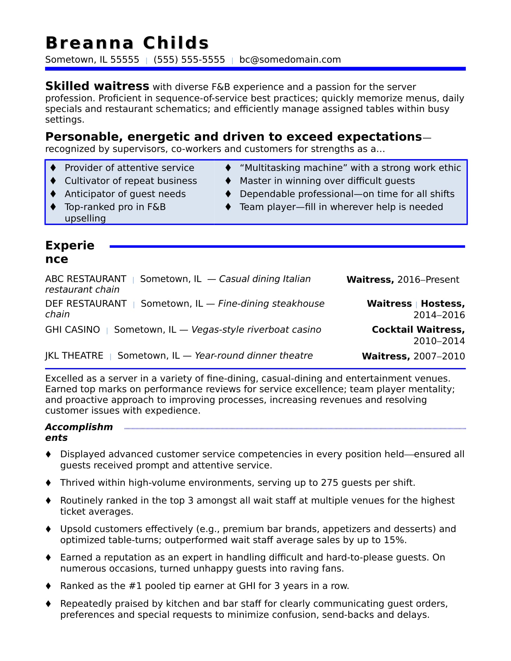 Waitress Resume Sample | Monster.com