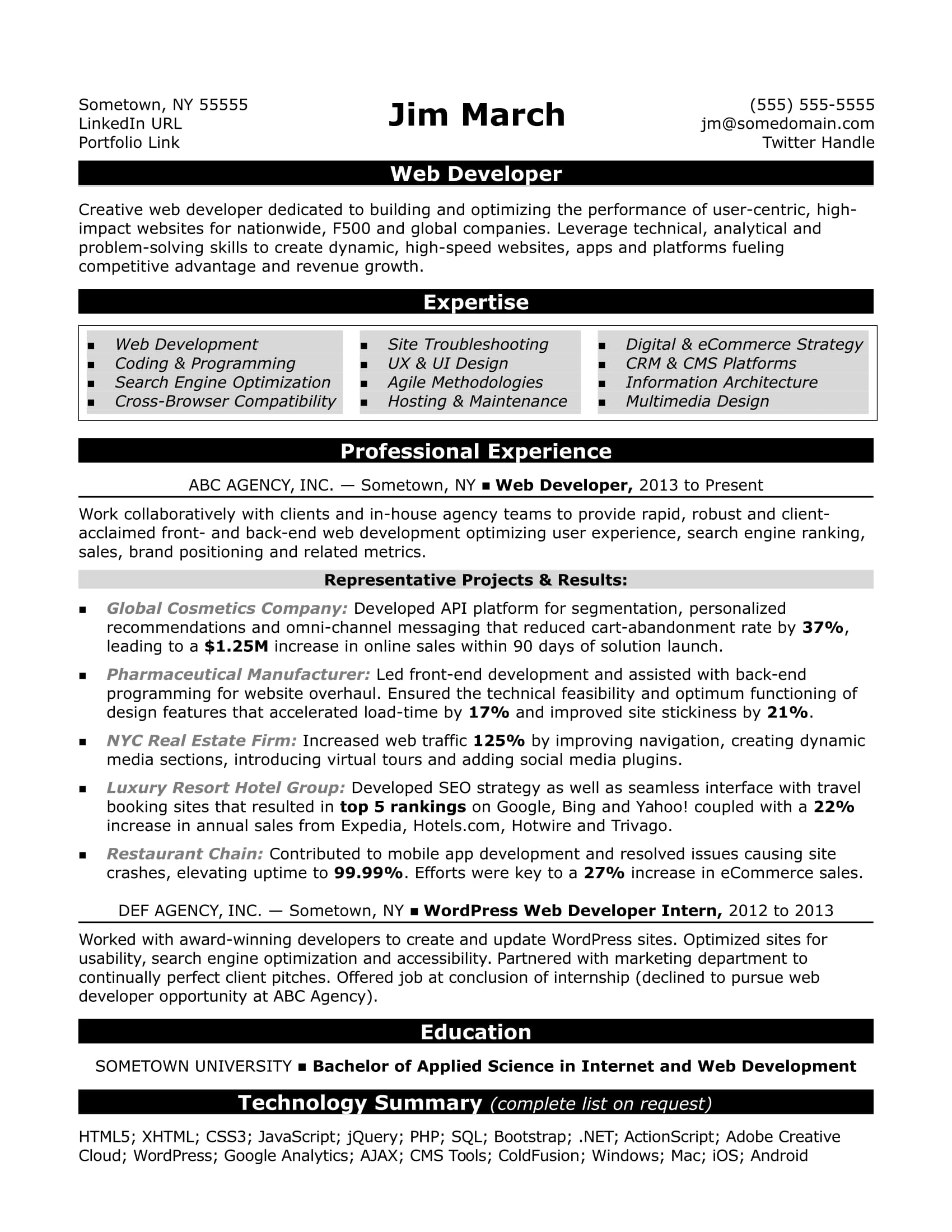 web developer resume sample monster com